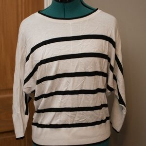 The Loft white and black stripped sweater
